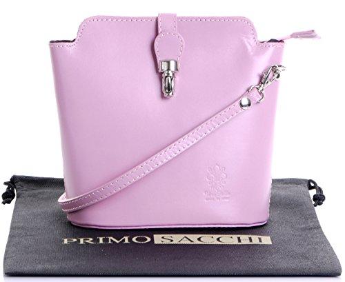 Italienisch Weichleder, Kleine Cross Body oder Umhängetasche Handtasche. Enthält eine Schutzaufbewahrungstasche. Baby Rosa - glatt-Leder