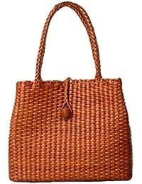 Generic Zairah Women's Leather Hand Woven Tote Bag (Brown)