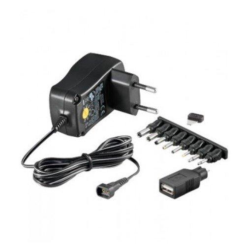kj-vertrieb Schaltnetzteil stabilisiert 300mA 3V / 4,5V / 5V / 6V / 7,5V / 9V / 12V - Universal Netzteil inkl. 8 Adapterstecker - Weltweit einsetzbar