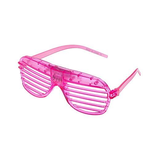 keln leuchten LED-Gläser Masse leuchten Rave Glasses Halloween Neon Party Supplies Bevorzugungen, Shutter Shades Brille Pink (mit Akku) ()