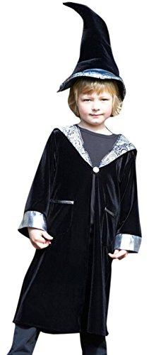 Halloweenia - Jungen Zauberer Kostüm, Karneval, Fasching, Halloween, Schwarz, Größe 116-128, 6-8 Jahre
