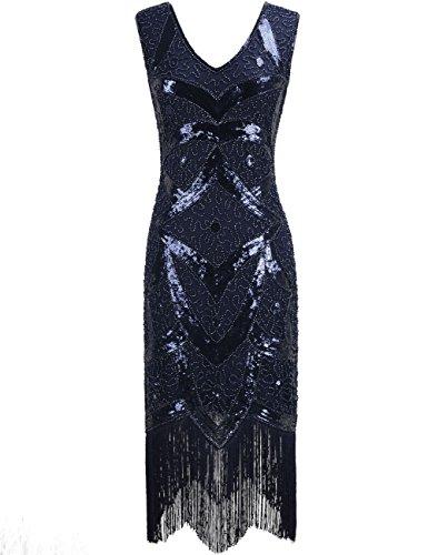 Kayamiya Damen 1920er Great Gatsby Pailletten Perlen Inspiriert Franse Flapper Kleid S Blau