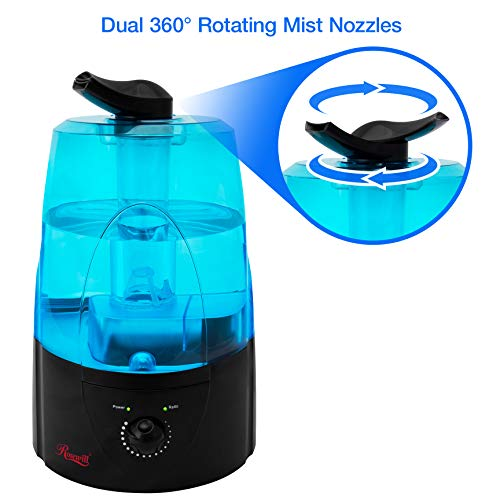 Rosewill Black Quiet Operated Filterless Ultrasonic Humidifier with 360° Adjustable Dual Nozzle Mist Outlet (RHHD-14002) by Rosewill
