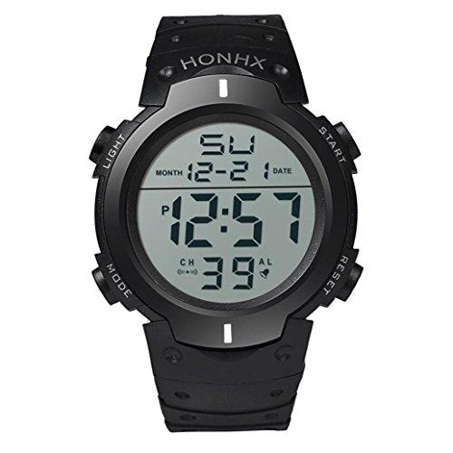 Coolster Herren & Jungen Sport Wasserdichte LCD Digital Stoppuhr Datum Silikon Armbanduhr (weiß) (Anzug 3-tasten-weißen)