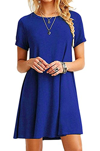 Kleid Gold Disco (YMING Damen Casual Blusenkeid Lose Tunika Casual T-Shirt Kleid Kurzarm Basic Strickkleid,Saphir,XXL / DE)