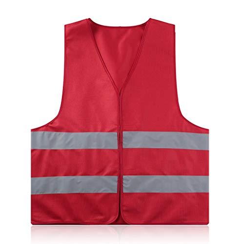 AILI Reflektierende Warnweste Arbeitskleidung Hohe Sichtbarkeit Tag Nacht Schutzweste Für Radfahren Sicherheit im Straßenverkehr (Color : Red)