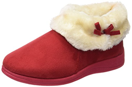 ladies-famous-dunlop-fur-collar-slippers-bessie-warm-lining-rubber-sole-winter-red-size-5-uk