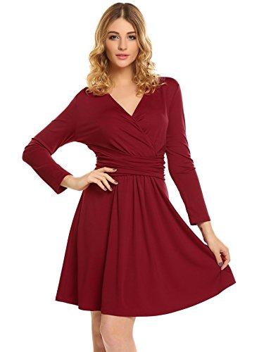 Meaneor Damen Shirt Kleid Jerseykleid Elegant Shirtkleid Strickkleid Cocktailkleid V-Ausschnitt Abendkleid in raffinierter Wickeloptik Minikleid...