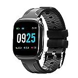 Fulltime E-Gadget Bluetooth Smart Watch, Aktivität Herzfrequenz-Blutdruck Tracker Nachricht und Anrufbenachrichtigung IP67 wasserdicht Smartwatch (Schwarz)
