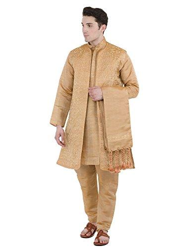 Hochzeit Kurta indischen Herren Pyjama 4-teilig traditionellen Stil -