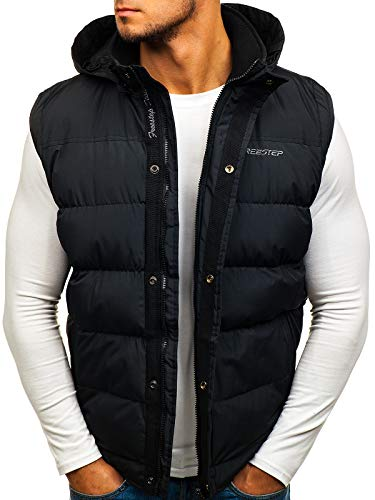 BOLF Gilet – Trapuntato – Senza cappuccio – A zip – Sportivo – Di moda – Da uomo FREESTEP 8260 Nero M