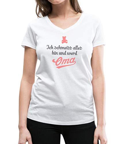 Spreadshirt Ich Schmeiss Hin Und Werd Oma Frauen Bio-T-Shirt mit V-Ausschnitt von Stanley & Stella, S, Weiß