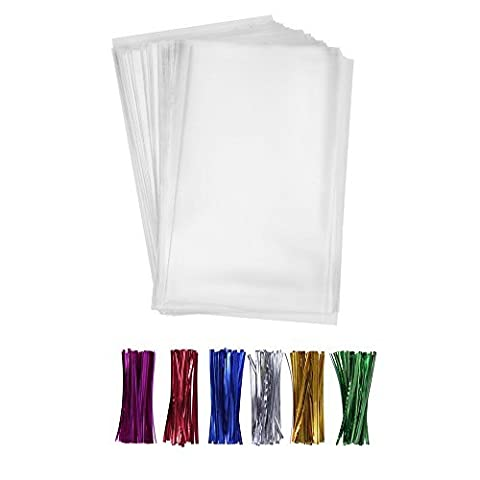 200 Clear Treat Bags 6x9 with 4