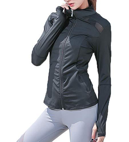 Sodhue Damen Laufjacke Mesh Sweatshirt mit Reißverschluss Atmungsaktive Sportjacke Langarm Yoga Fitness Shirt Schnell Trocknend Sportwear...