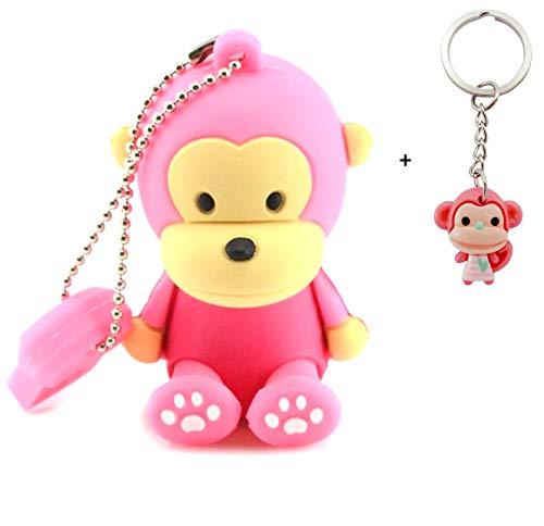Lynneo® - chiavetta usb 2.0 a forma di scimmia, 32 gb, con un portachiavi a sorpresa in omaggio, colore: rosa ideale come regalo fantasia, divertente e originale. chiavetta usb a forma di animale