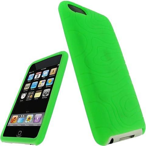 igadgitz Etui Pochette Housse en Silicone de couleur Vert, Coque pour Apple iPod Touch 2nd 2G 2ème & 3G 3ème génération 8 go gb, 16 go gb, 32 go gb & 64 go gb + protecteur