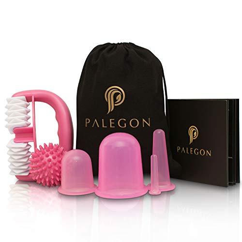 Palegon® Anti Cellulite Set - 4x Cellulite Saugglocke, 1x Cellulite Roller, 1x Massageball - inklusive Gebrauchsanweisung für strahlend schöne Haut
