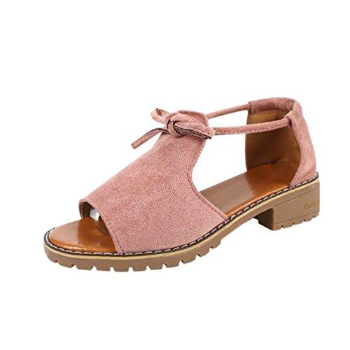 Dexinx donna tacchi alti tinta unita sandali a punta aperta sandali con tacco e zeppa pink 40