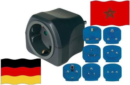 Reise-Adapter Marokko auf Deutschland MA - GER Travel Plug MAROKKO-Reise (Schutzkontakt) Ma-adapter