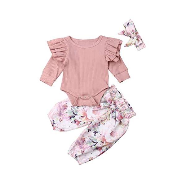 Traje de Dormir Mameluco Tops de Mameluco con Mangas con Volantes para bebés y niños pequeños + Pantalones Florales… 1