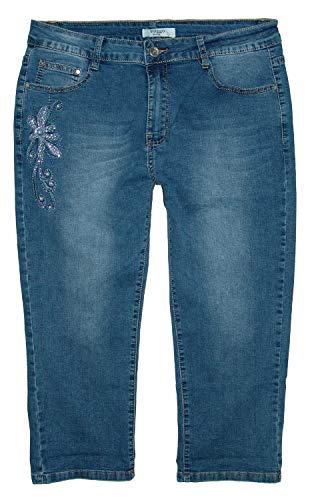 Voggo Damen Stretch Capri 3/4 Jeans Hose, Blue Used (Blume) W2177, Gr.42 W33 Blue Denim Capri-jeans