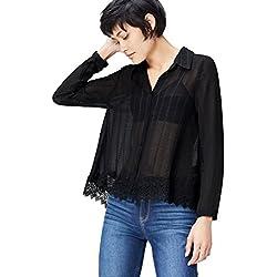 FIND Blusa Semitrasparente con Bajo de Encaje para Mujer , Negro (Black), 40 (Talla del Fabricante: Medium)