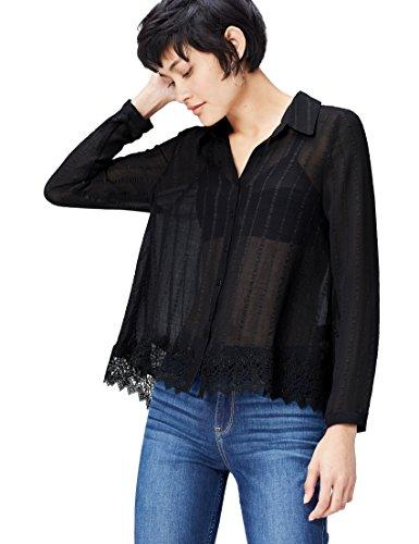 FIND Bluse Damen mit Spitzensaum, Streifenmuster und kastenförmiger Silhouette, Schwarz (Black), 44 (Herstellergröße: XX-Large)