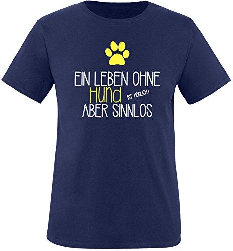 EZYshirt® Ein Leben ohne Hund ist möglich ! Aber sinnlos Herren Rundhals T-Shirt Navy/Weiss/Gelb