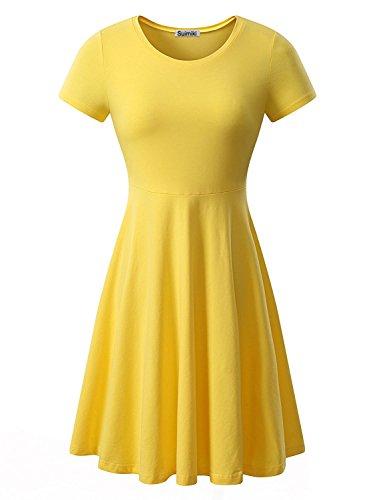 Suimiki Damen Stretch beiläufiges Kurzarm Rundhals Sommerkleid mit Falten Freizeitkleid Knielang-YEL (Ananas Kleid)