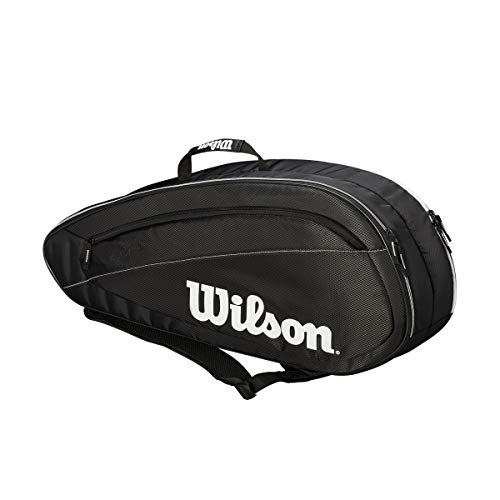 WILSON Unisex - Erwachsene FED Team Tennis Bag, Black/White, 6 Rackets