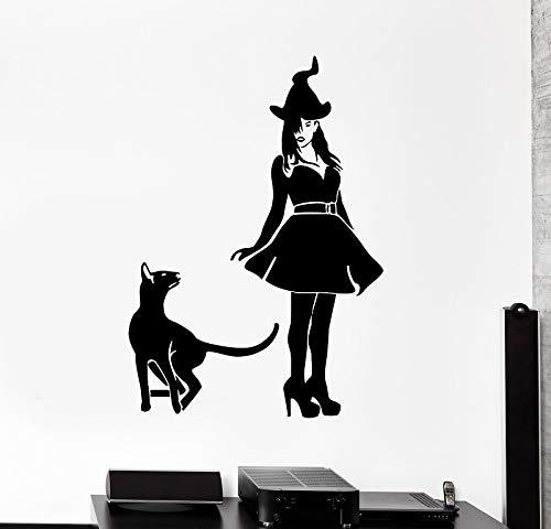 Shentop Wandtattoo Hexe Katze Haustier Halloween Hexerei Vinyl Aufkleber Weihnachtsfeier Dekoration Zuhause Wohnzimmer Dekoration WSJ16 42x60cm