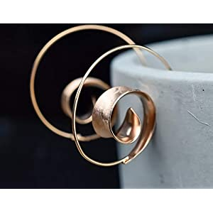 925er Rosé vergoldete Spiral Ohrringe BRUNEI II
