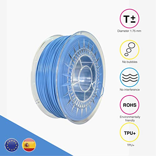 EOLAS Filamento flexible 3D 100% TPU+ 1.75mm, Made in Spain, Food safe, Toys safe Certified (Cian, 250 gr)