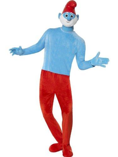 Papaschlumpfkostüm Papaschlumpf Kostüm Papa Schlumpf die Schlümpfe hochwertig mit Maske rot blau für Herren Herrenkostüm Gr. 48/50 (M), 52/54 (L), Größe:L (Die Schlümpfe Kostüme)
