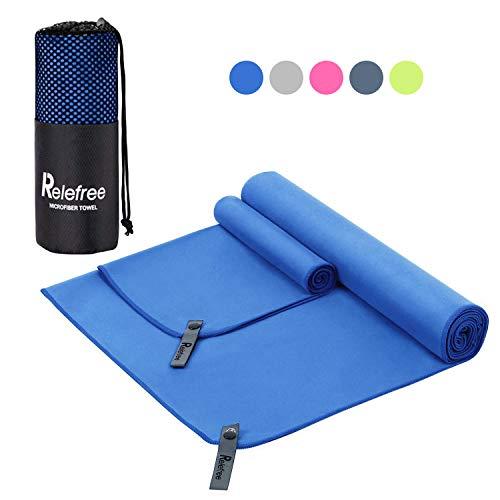 Asciugamano in microfibra 2 pezzi relefree asciugatura rapida facile da trasportare  bagnarsi,yoga,palestra, spiaggia,sportive,viaggio o campeggio  (blu e grigio)