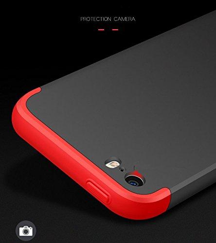 Custodia iPhone 5 5s ,360 Gradi della copertura completa 3 in 1 Hard PC Case Cover Stilosa Protettiva Bumper Antiurto Antigraffio Posteriore Copertura per iPhone SE (Nero + Rosso) Rose Gold