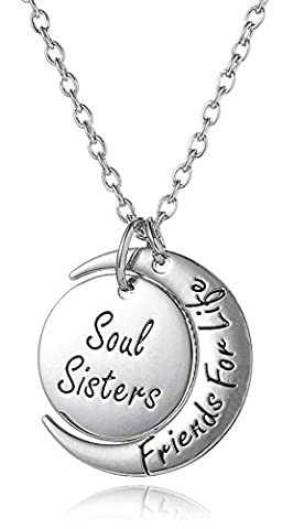 Soul Sisters Friends For Life Silver Tone Necklace for Best Friends Forever, Besties, BFF by Glamour Girl Gifts Collection