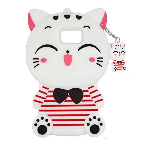 iPhone 5C Fall, maoerdo Cute Weiß 3D Cartoon Streifen Plutos (Mythologie) Katze Lucky Fortune Cat Kitty mit Fliege Silikon Rubber Handy Schutzhülle für Apple iPhone 5C