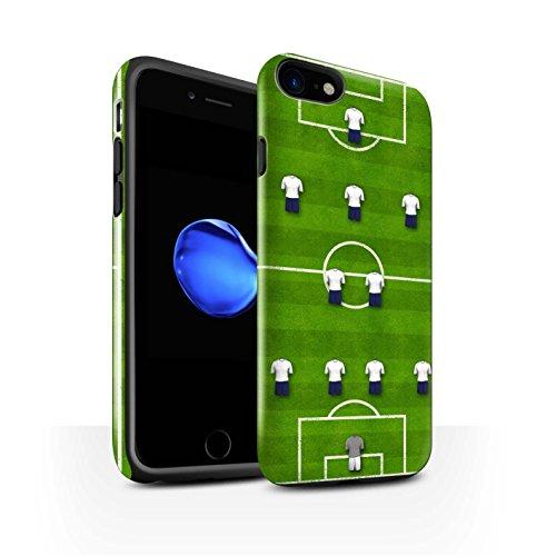 STUFF4 Glanz Harten Stoßfest Hülle / Case für Apple iPhone 8 / 4-1-2-1-2/Rot Muster / Fußball Bildung Kollektion 4-2-3-1/Weiß