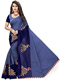 Indian Fashionista Women's Chanderi Cotton Saree with Blouse Piece, Free Size (MHVR290-1797, Navy Blue)