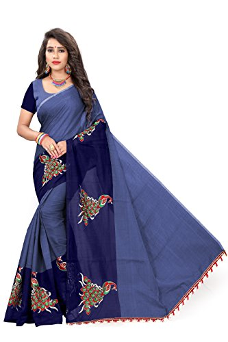 Indian Fashionista Women's Chanderi Cotton Saree with unstiched Blouse Piece (MHVR290-1797_Free Size_Navy...