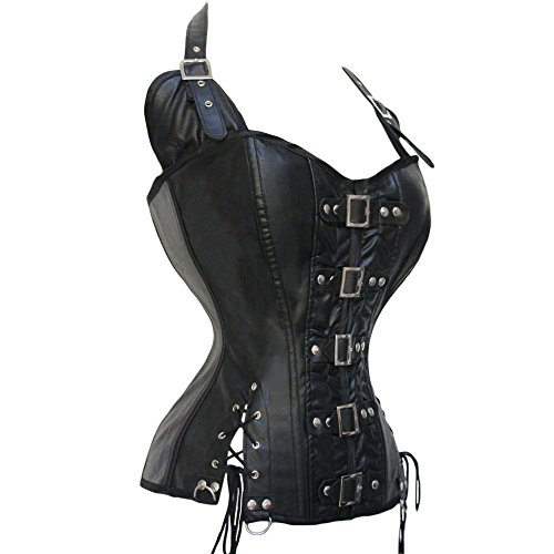 Kiwi-rata Damen Steampunk Gothic Korsett Korsage Corset Clubwear Corsagen Top Schwarz Schwarz
