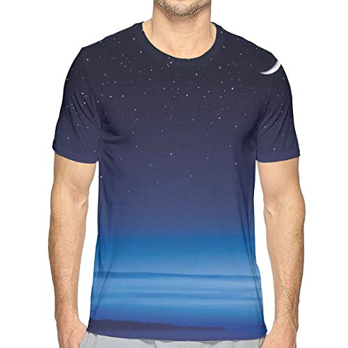 3D Printed T Shirts,Moon and Stars Over Santa Barbara Channel Infinity Foggy Pacific Ocean XXL