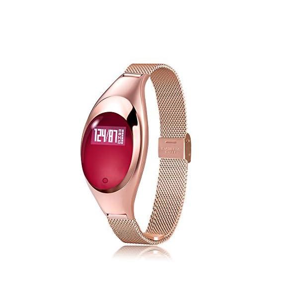 Lixada Women Fashion BT Smart Watch Metal Wristwatch Bracelet High Definition LED With Blood Pressure Heart Rate Monitor Pedometer Fitness Tracker