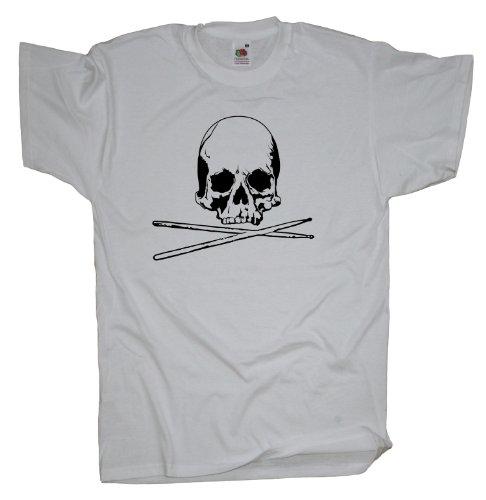 Ma2ca - Drummer Skull - T-Shirt White