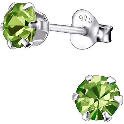 EYS JEWELRY runde Damen Ohrstecker 925 Sterling Silber mit funkelnden Zirkonia in peridot-grün 5 mm Damen Ohrringe