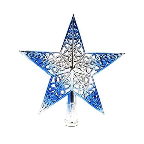 Tinksky Ausgehöhlter Weihnachtsbaum Top Schein Stern Glitzernder hängender Weihnachtsbaum Topper Dekoration Ornamente Wohnkultur (silbrig blau)