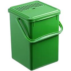 Rotho 1779905053 Komposteimer Bio Abfallbehälter, für die Küche aus Kunststoff mit geruchsdichtem Deckel und Aktivkohlefilter, Biomülleimer mit 8 Liter Inhalt, ca. 23 x 22,5 x 27,5 cm, grün