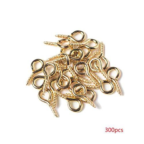 Fornateu 300pcs / Bag Gold überzogene Augen Schrauben DIY Schmuck Holz-Verarbeitung Hardware Befestigungsteile Nail