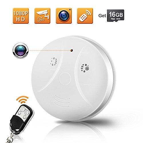 WISEUP 16GB 1920x1080P HD Mini Spion Kamera Rauchmelder Haus Überwachungskamera mit Bewegungsmelder...